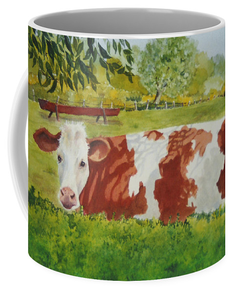 Cows Coffee Mug featuring the painting Give Me Moooore Shade by Mary Ellen Mueller Legault