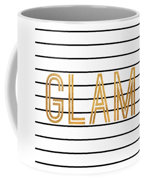 Glam Coffee Mug featuring the digital art Glam Pinstripe Gold by South Social Studio