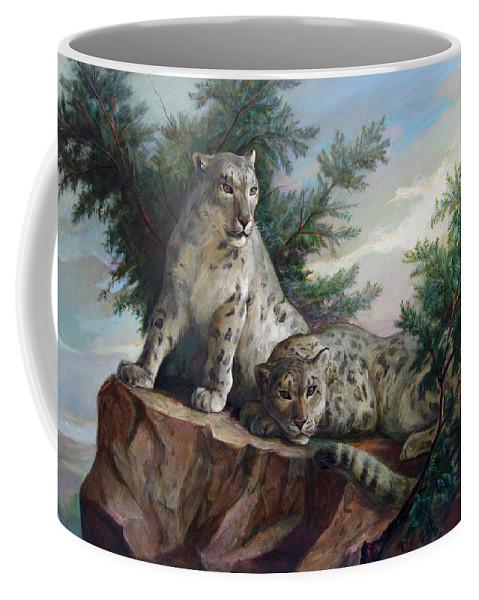 Cats Coffee Mug featuring the painting Glamorous Friendship- Snow Leopards by Svitozar Nenyuk