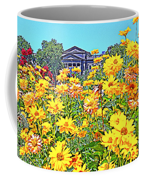 Yellow Flowers Franklin Institute Philadelphia Coffee Mug featuring the photograph Glorious Yellow And The Franklin by Alice Gipson