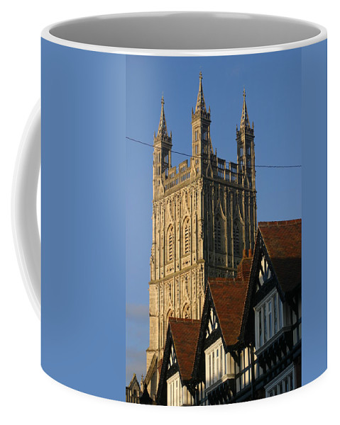 Gloucester Cathedral Spire Westgate Street Tudor Buildings Coffee Mug featuring the photograph Gloucester Cathedral Spire by Andy Lloyd