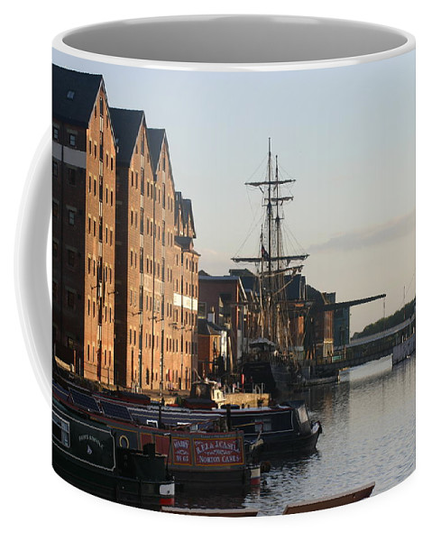 Gloucester Docks Tall Ships Barges Warehouses Coffee Mug featuring the painting Gloucester Docks 1 by Andy Lloyd