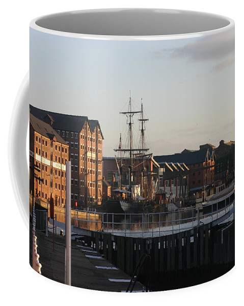 Gloucester Docks Tall Ships Barges Warehouses Coffee Mug featuring the photograph Gloucester Docks 3 by Andy Lloyd