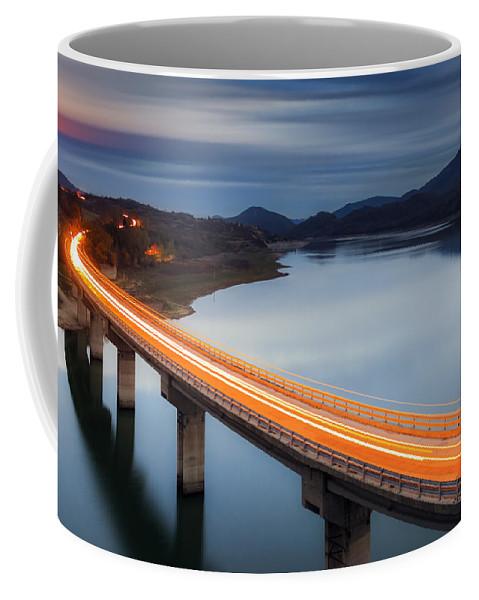 Bulgaria Coffee Mug featuring the photograph Glowing Bridge by Evgeni Dinev