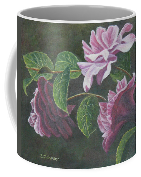 Camellias Coffee Mug featuring the painting Glowing Camellias by Sheryn Johnson