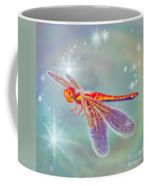 Dragonfly Coffee Mug featuring the digital art Glowing Dragonfly by Audra D Lemke