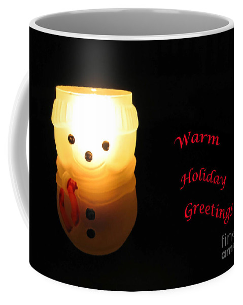 Snowman Coffee Mug featuring the photograph Glowing Snowman by Ann Horn