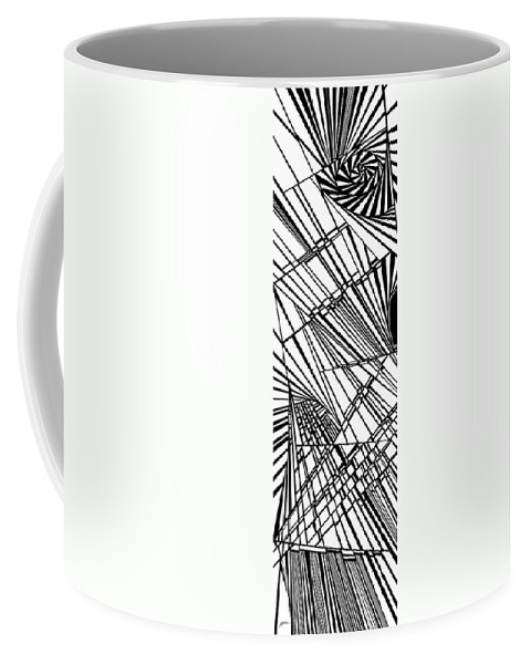 Dynamic Black And White Coffee Mug featuring the painting Go On by Douglas Christian Larsen