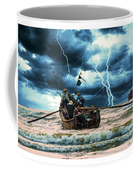 Blue Coffee Mug featuring the painting Go Though The Storm by Philip HP Wong