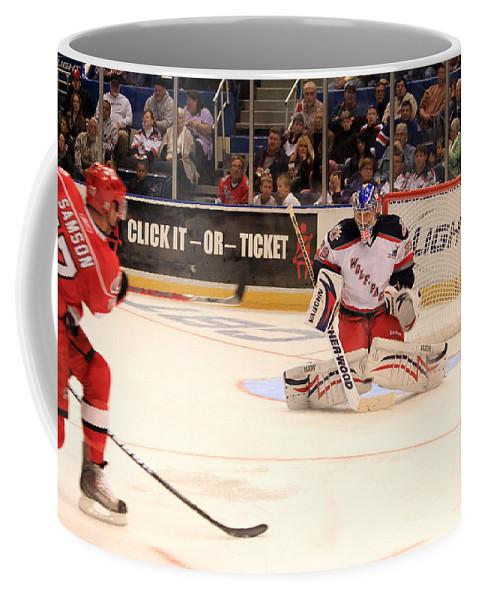 Ice Hockey Coffee Mug featuring the photograph Goalie Protects by Karol Livote