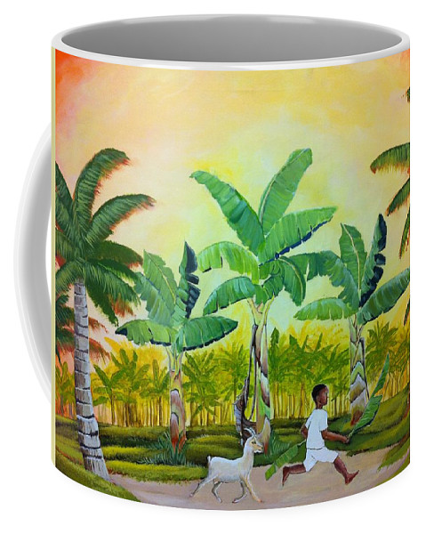 Boy With Goat Chasing Him Coffee Mug featuring the painting Goat Chase by Godwin Darko