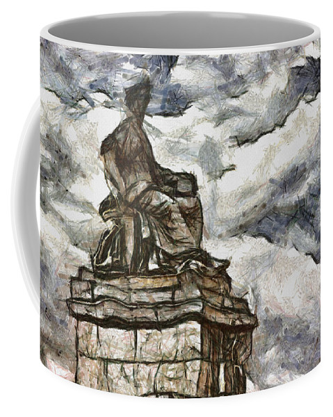 Statue Coffee Mug featuring the painting Goddess by Inspirowl Design