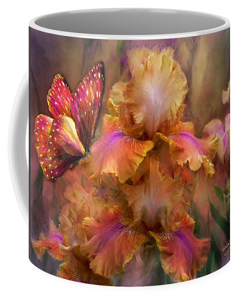 Iris Coffee Mug featuring the mixed media Goddess Of Sunrise by Carol Cavalaris