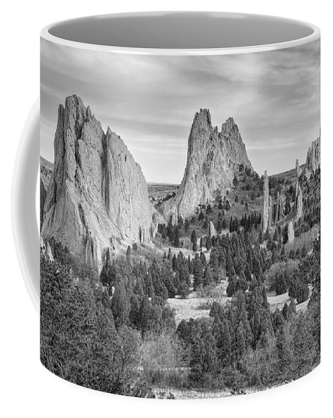 Garden Of The Gods Coffee Mug featuring the photograph Gods Colorado Garden In Black And White  by James BO Insogna