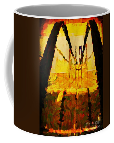 Abstract Art Posters Coffee Mug featuring the painting Going Down Or Perhaps Across by John Malone