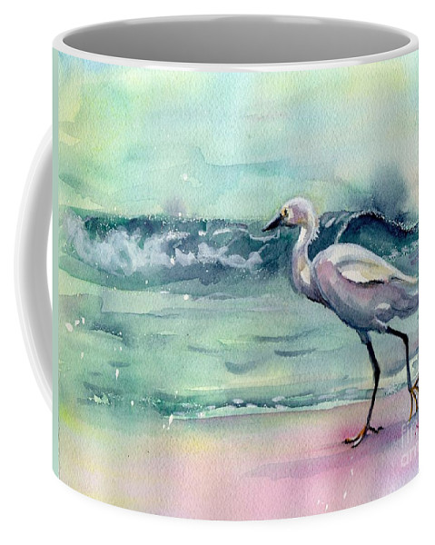 Egret Painting Coffee Mug featuring the painting Going Home by Maria Reichert