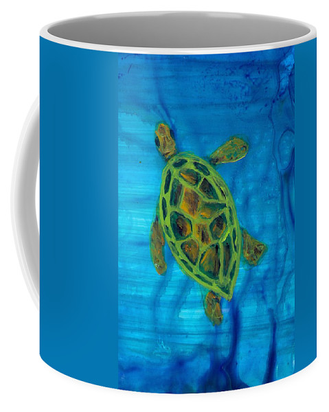 Turtle Coffee Mug featuring the painting Going Up For Air by Wanda Pepin