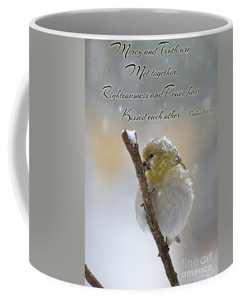 Nature Coffee Mug featuring the photograph Gold Finch On A Snowy Twig With Verse by Debbie Portwood