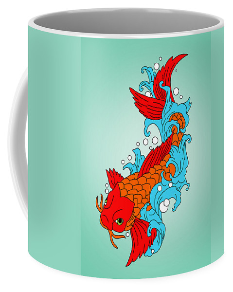 Fish Coffee Mug featuring the painting Gold Fish 3 by Mark Ashkenazi