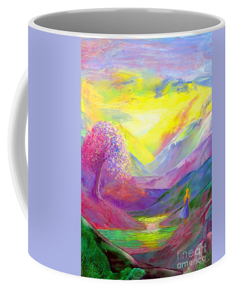 Golden Coffee Mug featuring the painting Gold Horizons by Jane Small