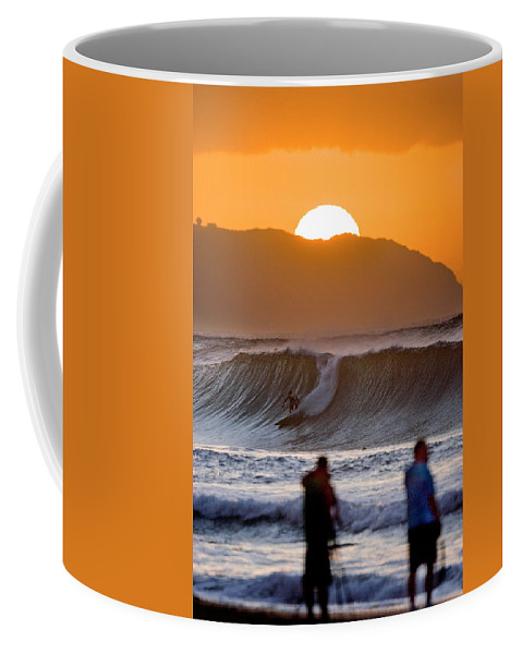 Surfing Coffee Mug featuring the photograph Gold Kaena Sunset by Sean Davey