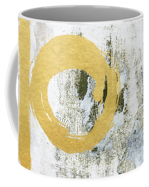 Gold Coffee Mug featuring the painting Gold Rush - Abstract Art by Linda Woods