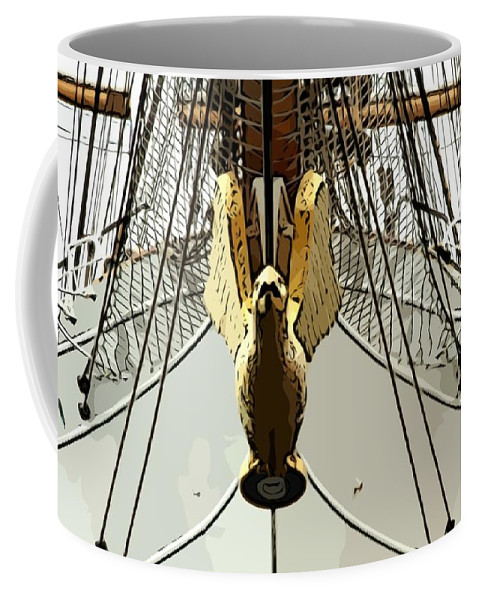 Eagle Ship Boat Mast Coffee Mug featuring the photograph Golden Bird by Alice Gipson