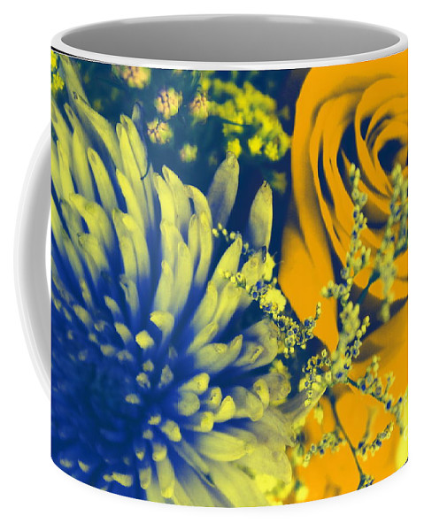 Dahlia Coffee Mug featuring the photograph Golden Blossoms Pop Art by Dora Sofia Caputo Photographic Design and Fine Art