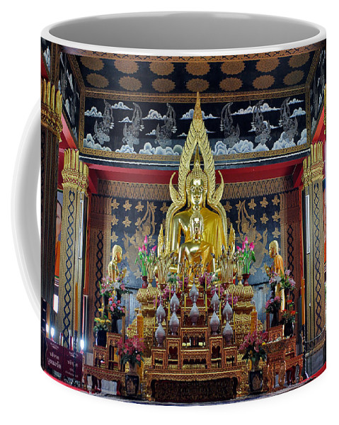 3scape Coffee Mug featuring the photograph Golden Buddha by Adam Romanowicz