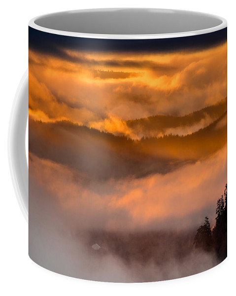 Dawn Coffee Mug featuring the photograph Golden Clouds by Greg Nyquist