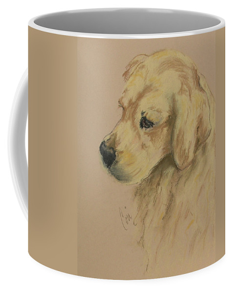 Golden Retriever Coffee Mug featuring the drawing Golden Delights by Cori Solomon