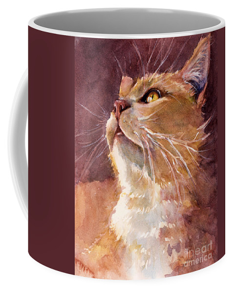 Cat Coffee Mug featuring the painting Golden Eyes by Judith Levins