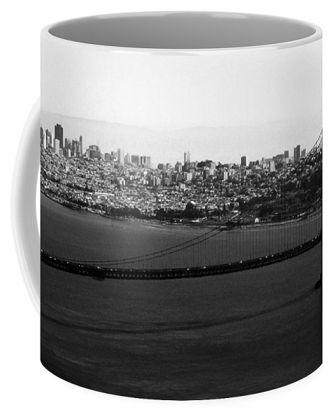 Golden Gate Bridge Coffee Mug featuring the photograph Golden Gate Bridge In Black And White by Linda Woods