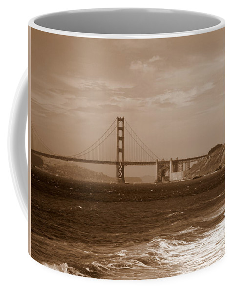 Golden Gate Bridge Coffee Mug featuring the photograph Golden Gate Bridge With Surf Sepia by Carol Groenen