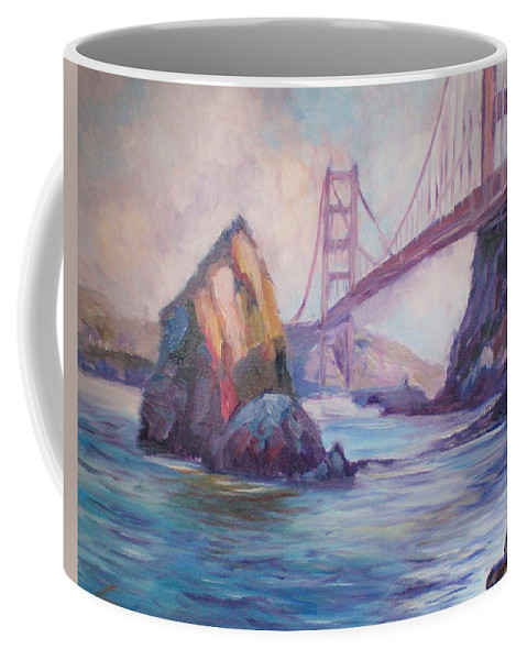 Landscape Coffee Mug featuring the painting Golden Gate by Elena Sokolova