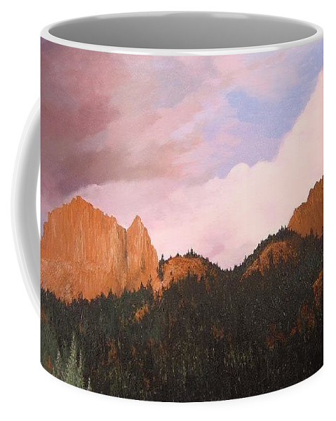 Mountains Coffee Mug featuring the painting Golden Gate by Hunter Jay