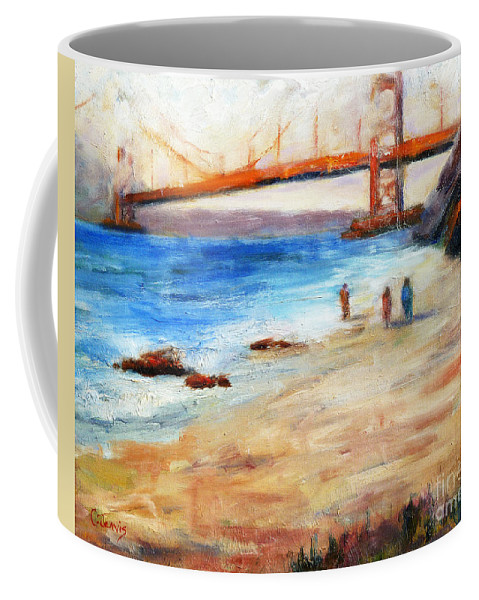 San Francisco Coffee Mug featuring the painting Golden Gate Stroll by Carolyn Jarvis