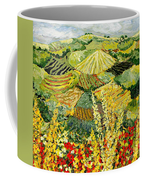 Landscape Coffee Mug featuring the painting Golden Hedge by Allan P Friedlander