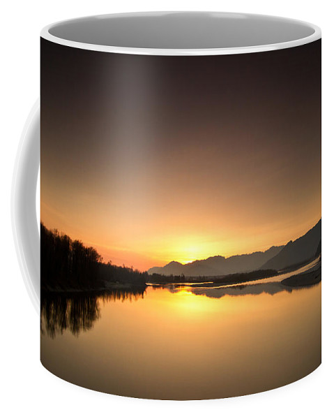 Sunset Coffee Mug featuring the photograph Golden Hour At The River by Eti Reid