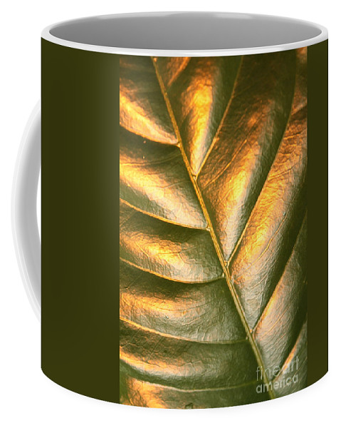 Gold Coffee Mug featuring the photograph Golden Leaf 2 by Carol Groenen