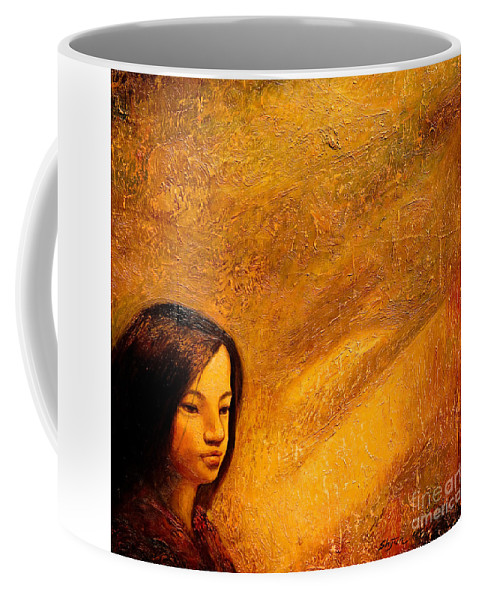 Portrait Coffee Mug featuring the painting Golden Light by Shijun Munns