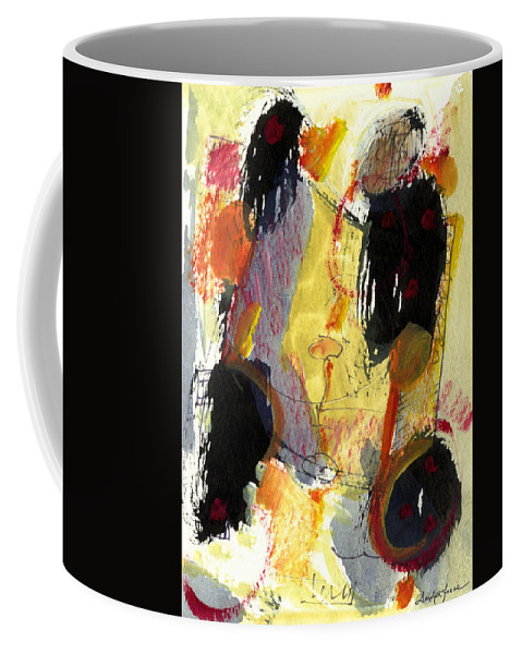 Abstract Art Coffee Mug featuring the painting Golden Moon by Stephen Lucas