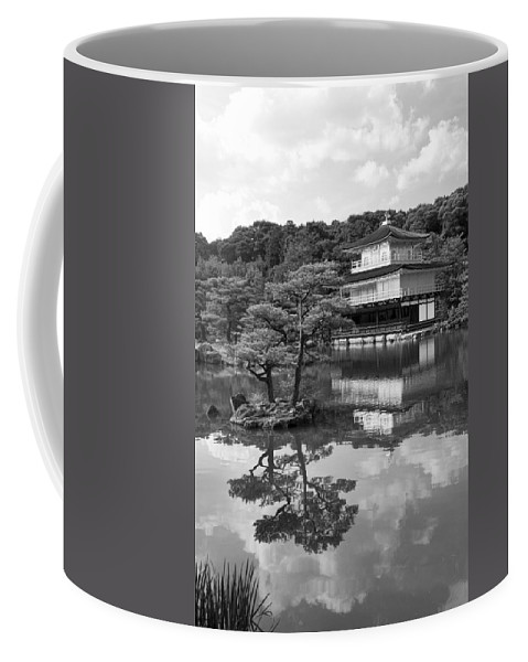 Black And White Coffee Mug featuring the photograph Golden Pagoda In Kyoto Japan by David Smith