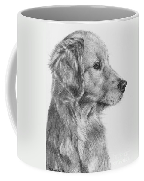 golden retriever puppy in charcoal one coffee mug for sale by kate