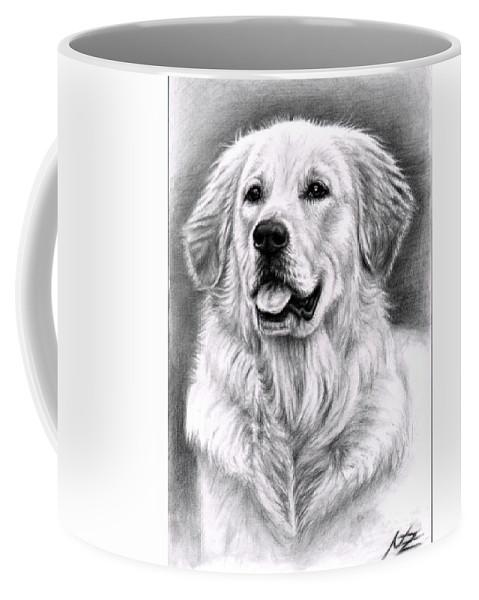 Dog Coffee Mug featuring the drawing Golden Retriever Spence by Nicole Zeug