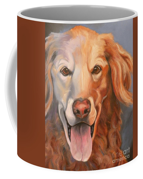 Dogs Coffee Mug featuring the painting Golden Retriever Till There Was You by Susan A Becker