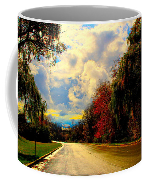 Road Coffee Mug featuring the photograph Golden Road by Debbie Nobile