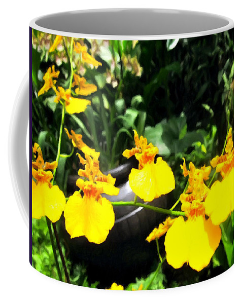 Golden Shower Or Dancing Lady Flower Coffee Mug featuring the painting Golden Shower Or Dancing Lady Flower by Jeelan Clark