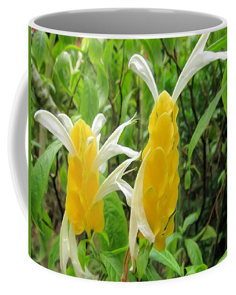 Golden Shrimp Plant Or Lollipop Plant Coffee Mug featuring the painting Golden Shrimp Plant Or Lollipop Plant by Jeelan Clark