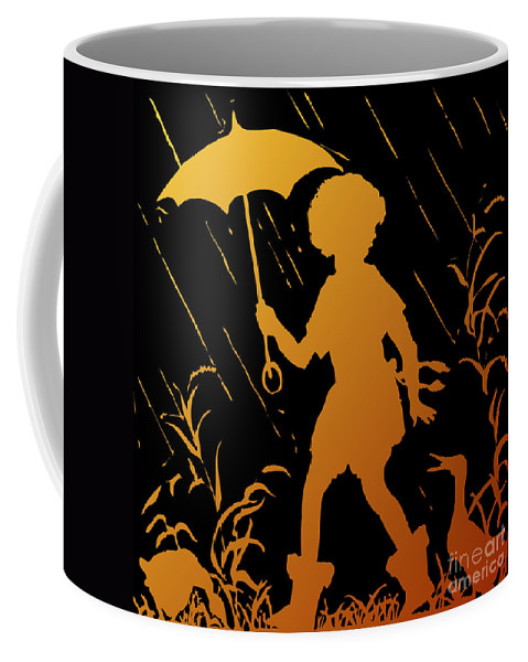 Walking In The Rain Coffee Mug featuring the digital art Golden Silhouette Of Child And Geese Walking In The Rain by Rose Santuci-Sofranko